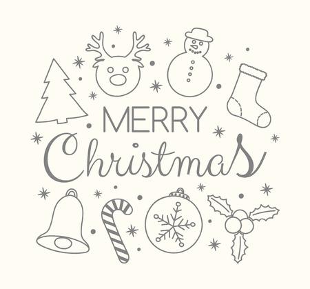 Weihnachtsbanner mit festlichen Ornamenten und Grüßen. Vektor.