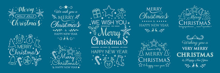 Christmas icons with wishes. Vector.