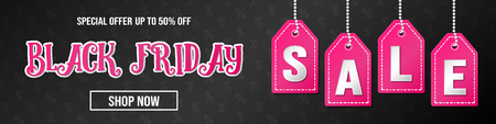 Black Friday Sale - shiny header with text. Vector.