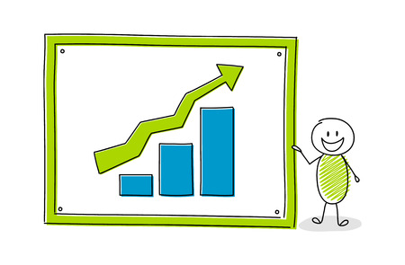 Funny cartoon character with whiteboard and business chart. Vector.