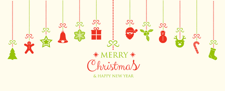 Christmas card with hanging ornaments and wishes. Vector.