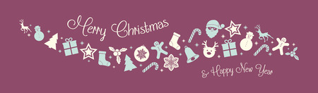 Concept of Christmas card with oraments. Vector.