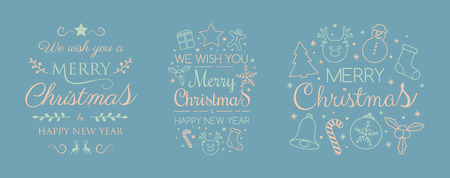 Collection of Christmas typography with ornaments. Vector.
