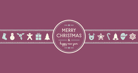 Christmas wishes with vintage decoration. Vector. Illustration