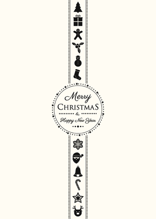 Concept of Christmas poster with decorations and greetings. Vector.