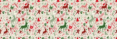 Concept of Christmas wallpaper with decorations - seamless texture. Vector.