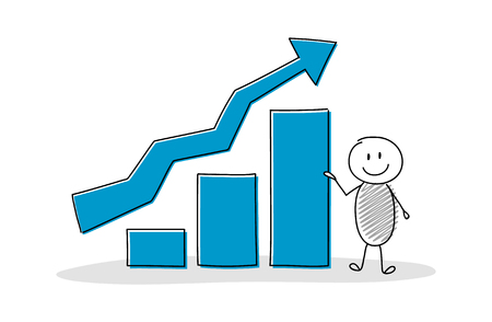 Funny cartoon character holding business graph. Vector.  イラスト・ベクター素材