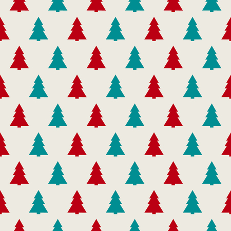Concept of seamless pattern with modern Christmas trees. Vector.