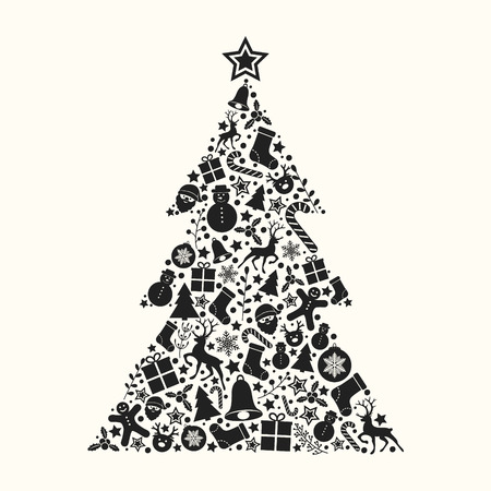 Decorative Christmas tree with icon. Vector.