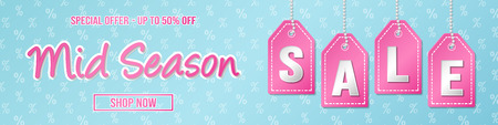Mid Season Sale - colourful banner with percents. Vector.
