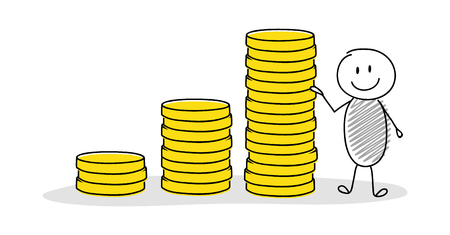 Cartoon businessman showing coin stack graph. Vector.