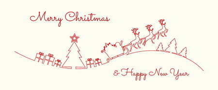 Concept of Christmas greeting card with hand drawn Santa Claus and Christmas tree. Vector.  イラスト・ベクター素材