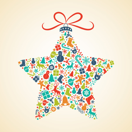 Christmas card with colorful star. Vector.  イラスト・ベクター素材