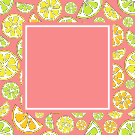 Poster with citrus fruits and copyspace. Vector.
