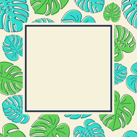 Layout of a card with copyspace and hand drawn tropical leaves in retro style. Vector.  イラスト・ベクター素材
