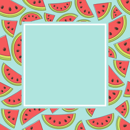 Concept of a summer template of a card with watermelons. Vector.  イラスト・ベクター素材