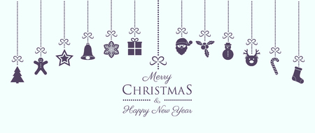 Concept of Christmas banner with vintage hanging ornaments. Vector.  イラスト・ベクター素材