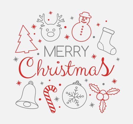 Decorative Christmas card with seasonal ornaments. Vector. Illustration