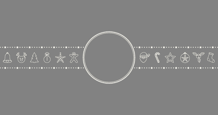 Design of Christmas banner with hand drawn decorations and copyspace. Vector.  イラスト・ベクター素材