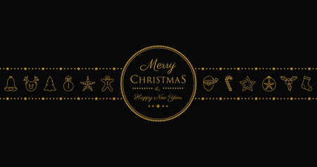 Christmas greetings with ornaments in retro style. Vector.  イラスト・ベクター素材