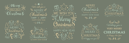 Christmas greetings with ornaments - collection. Vector.