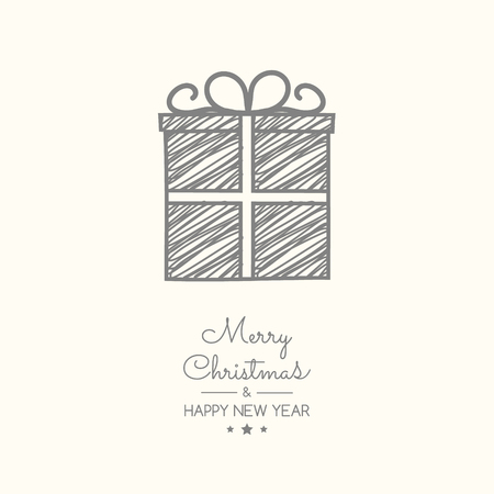 Design of Christmas present with wishes and ornaments. Vector.