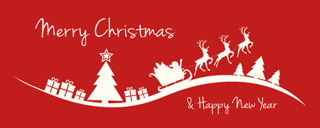 Design of Christmas banner with Santa Cluas and Christmas tree. Vector.  イラスト・ベクター素材