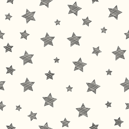 Concept of seamless texture with hand drawn stars. Vector.