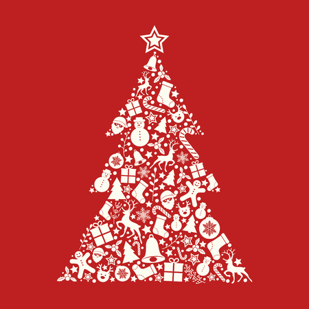 Christmas card with colorful tree. Vector.