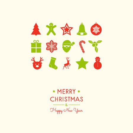 Merry Christmas and Happy New Year - greeting card with ornaments. Vector.