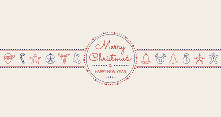 Christmas and New Year greeting card with hand drawn decorations. Vector. Illustration
