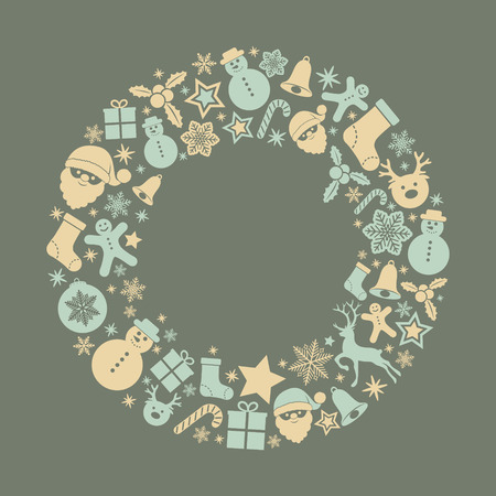Layout of Christmas greeting card with festive ornaments. Vector.