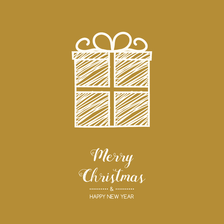 Christmas decoration with wishes and hand drawn present gift. Vector.