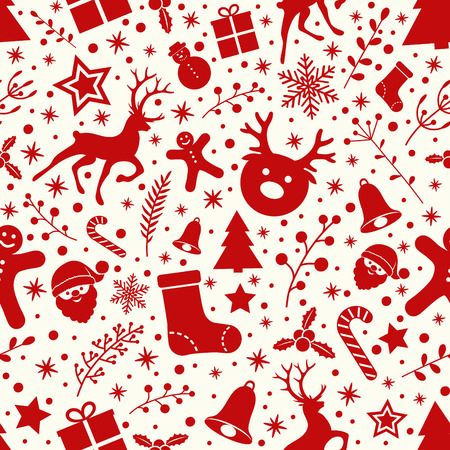 Concept of Christmas wallpaper with ornaments - seamless pattern. Vector.
