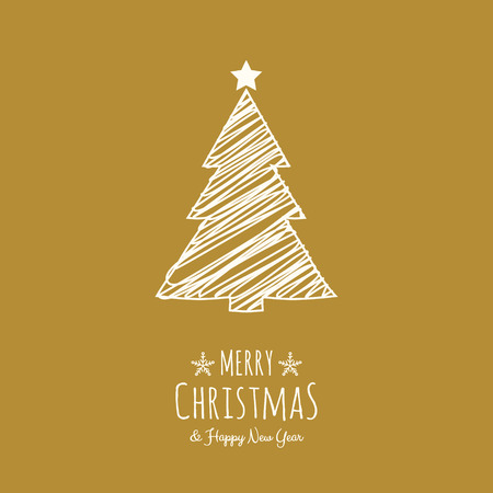 Design of Christmas greeting card with with hand drawn tree. Vector. Archivio Fotografico - 127589787