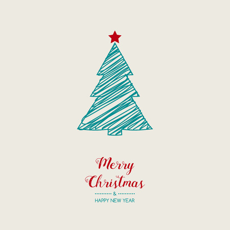 Christmas greeting card with hand drawn tree. Vector. Vettoriali