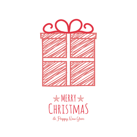 Design of Christmas greeting card with with hand drawn gift. Vector.