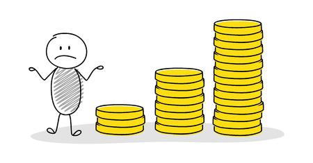 Sad stickman showing money chart. Vector.