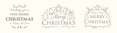 Christmas set with decorations and greetings. Vector. Illustration