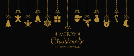 Concept of Christmas card with hanging decorations. Vector.