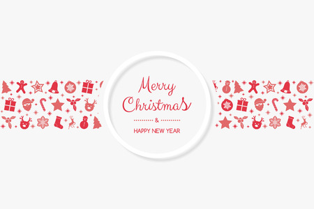 Vintage Christmas card with hand drawn elements. Vector.