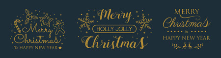 Collection of Christmas calligraphy with ornaments. Vector. Illustration