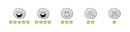 Funny star rating with cartoon stickman. Collection. Vector.