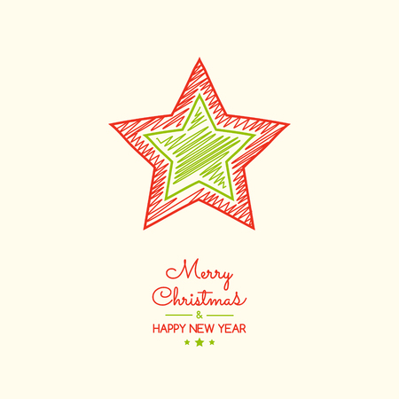 Christmas card in retro style with hand drawn star. Vector.