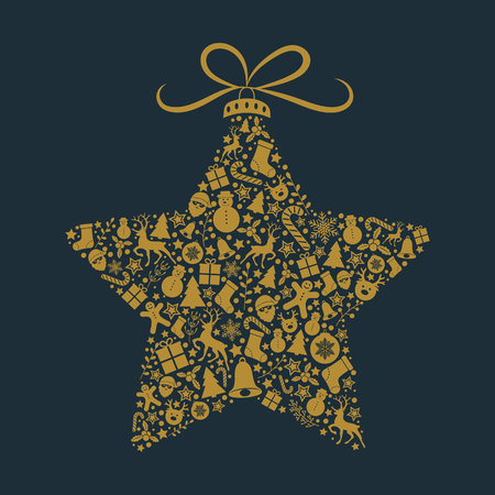 Christmas card with decorative ornaments. Vector.