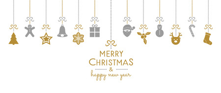 Christmas banner with hanging decorations and wishes. Vector. Vettoriali