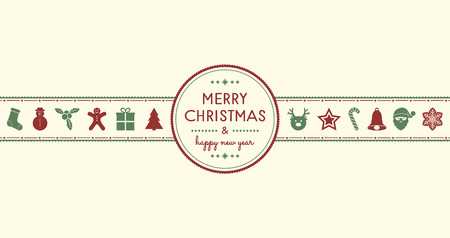 Christmas greetings with vintage decorations. Vector.