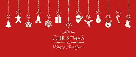 Weihnachtsbanner mit hängenden Dekorationen und Wünschen. Vektor.
