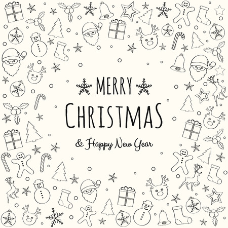 Design of Christmas greeting card with with hand drawn decorations. Vector.