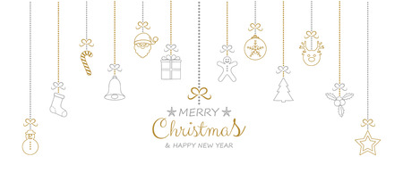 Christmas decoration with hanging elements. Vector. Vectores